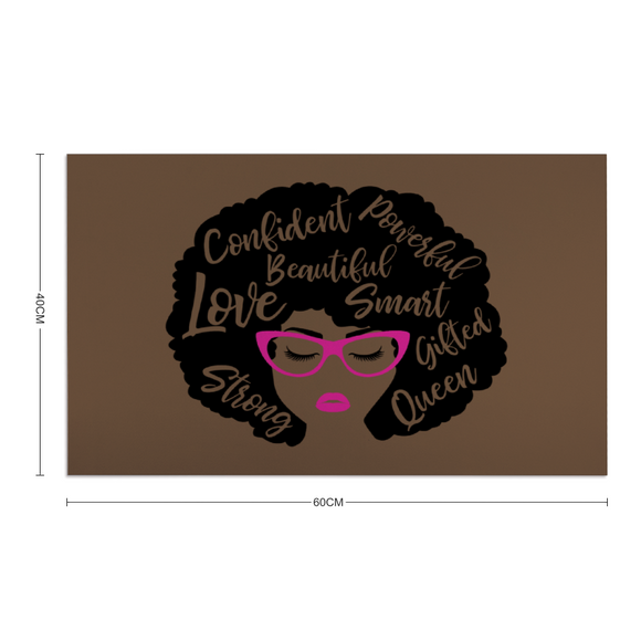 BLACK AFRO QUEEN: Rubber Floor Mat Rubber Carpet 16