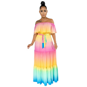 Sexy Off Shoulder Rainbow Stripes Print Dress