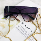 Multi Color Gradient Oversized Rimless Frame Sunglasses