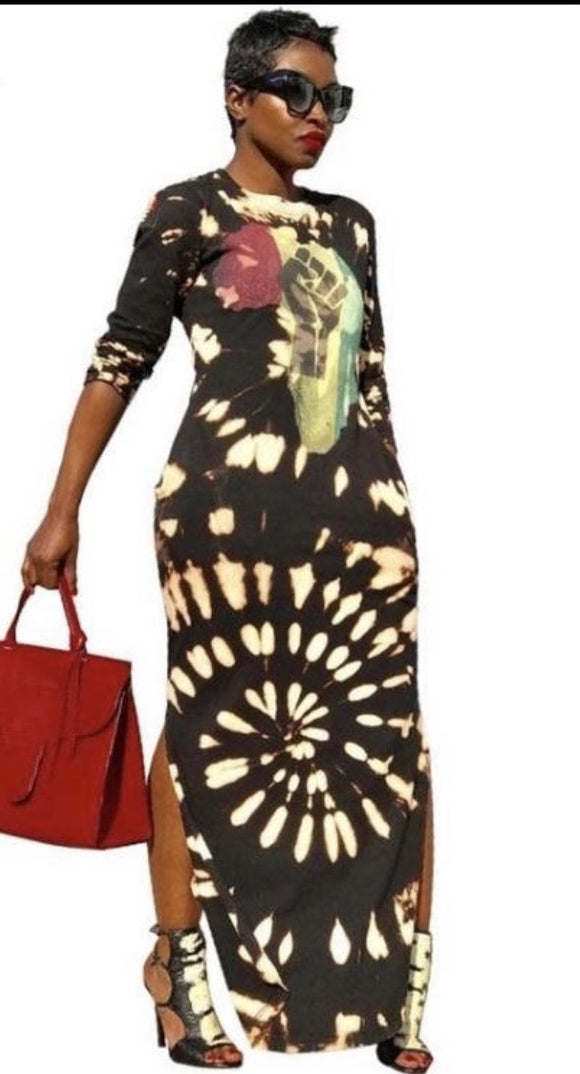 Fight The Power: Black Tie Dye Printed Women's Casual Maxi Dress