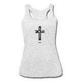 Jesus: Women's Tri-Blend Racerback Tank - heather white