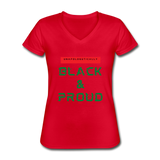 Unapologetically Black & Proud: Women's V-Neck T-Shirt - red