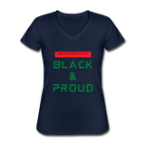 Unapologetically Black & Proud: Women's V-Neck T-Shirt - navy