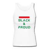 Unapologetically Black & Proud: Women's Longer Length Fitted Tank - white