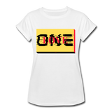 ONE LOVE/red/yellow/black: Women's Relaxed Fit T-Shirt - white