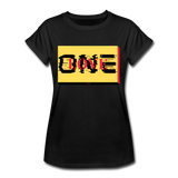 ONE LOVE/red/yellow/black: Women's Relaxed Fit T-Shirt - black