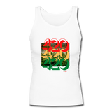 420: Women's Longer Length Fitted Tank - white