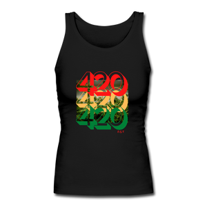 420: Women's Longer Length Fitted Tank - black