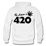 THE ANSWER IS 420: Gildan Heavy Blend Adult Hoodie - white