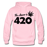 THE ANSWER IS 420: Gildan Heavy Blend Adult Hoodie - light pink