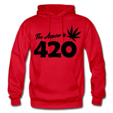 THE ANSWER IS 420: Gildan Heavy Blend Adult Hoodie - red