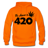 THE ANSWER IS 420: Gildan Heavy Blend Adult Hoodie - orange