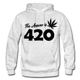 THE ANSWER IS 420: Gildan Heavy Blend Adult Hoodie - light heather gray