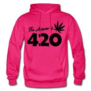 THE ANSWER IS 420: Gildan Heavy Blend Adult Hoodie - fuchsia