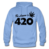 THE ANSWER IS 420: Gildan Heavy Blend Adult Hoodie - carolina blue