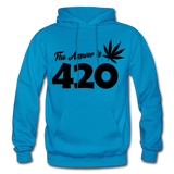 THE ANSWER IS 420: Gildan Heavy Blend Adult Hoodie - turquoise