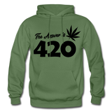 THE ANSWER IS 420: Gildan Heavy Blend Adult Hoodie - military green