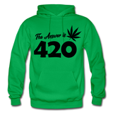 THE ANSWER IS 420: Gildan Heavy Blend Adult Hoodie - kelly green