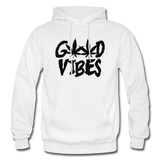 GOOD VIBES: Gildan Heavy Blend Adult Hoodie - white