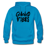 GOOD VIBES: Gildan Heavy Blend Adult Hoodie - turquoise