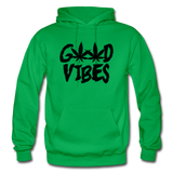 GOOD VIBES: Gildan Heavy Blend Adult Hoodie - kelly green