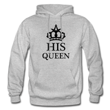 HIS QUEEN: Gildan Heavy Blend Adult Hoodie - heather gray