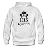 HIS QUEEN: Gildan Heavy Blend Adult Hoodie - light heather gray