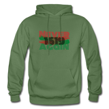 NEVER AGAIN 1619: Gildan Heavy Blend Adult Hoodie - military green