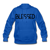 BLESSED & HIGHLY FAVORED (BLK) Women's Hoodie - royal blue