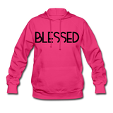 BLESSED & HIGHLY FAVORED (BLK) Women's Hoodie - fuchsia