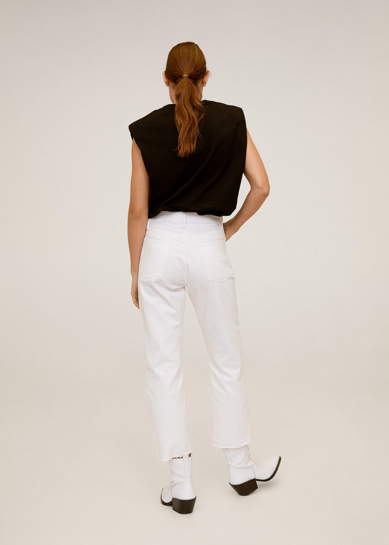 Jeans Straight Fit Crop - Blanco