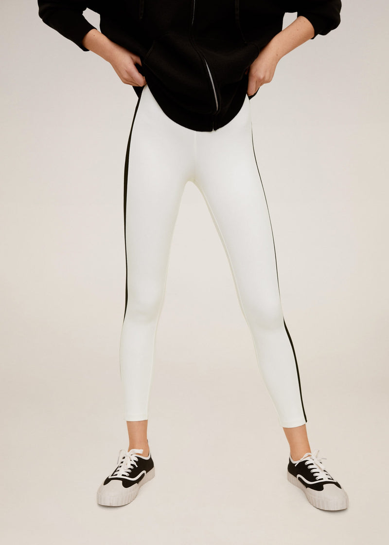 Leggings Diseño Combinado - Blanco