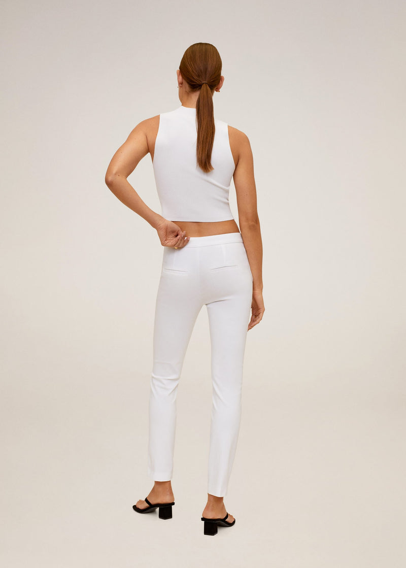 MNG Pantalón Skinny Crop - Off White