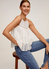 MNG Top Detalles Calados - Off White