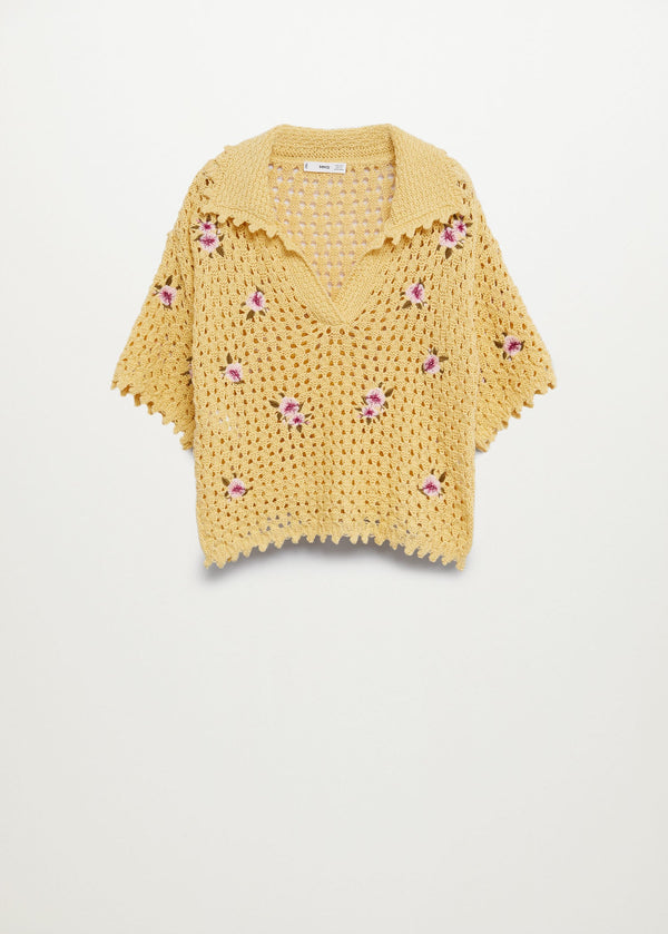 MNG Polo Crochet Flores - Amarillo Pastel