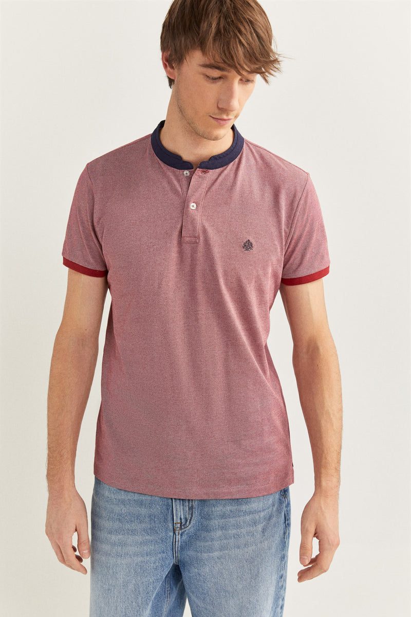 Polo Oxford Slim Mao - Rojo