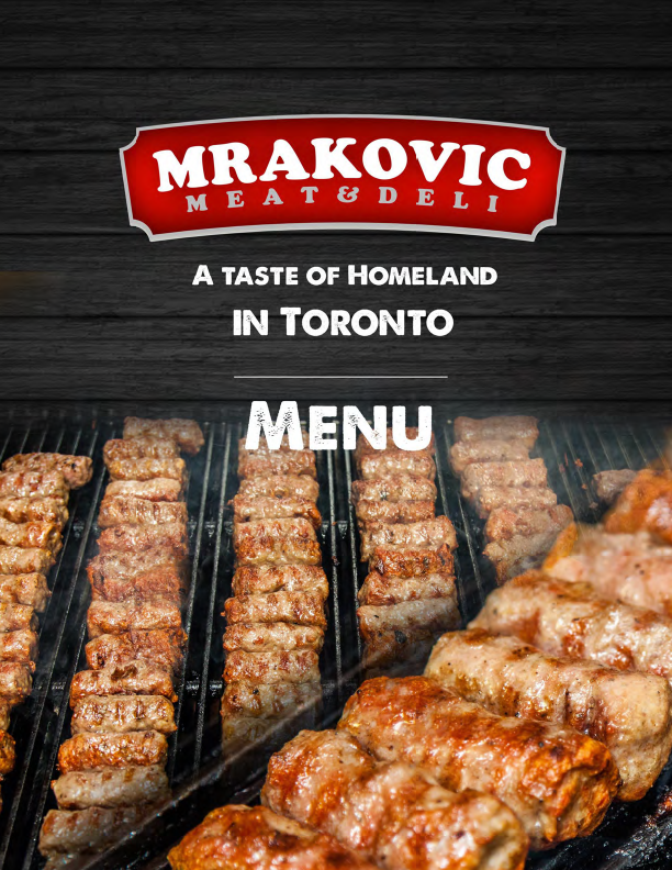 Mrakovic Restaurant Menu