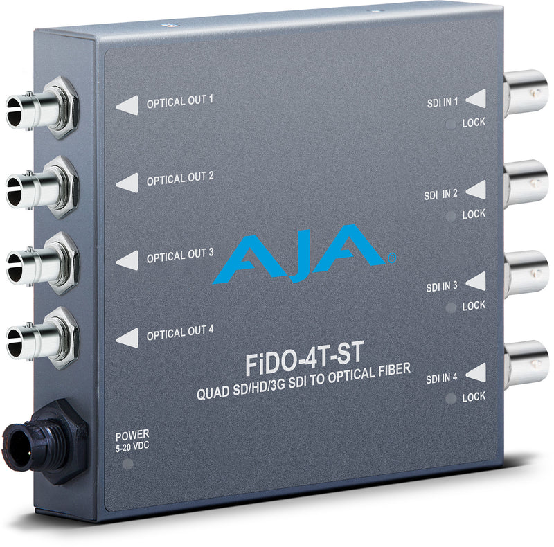 AJA FiDO Quad-Channel SDI to ST Fiber Converter
