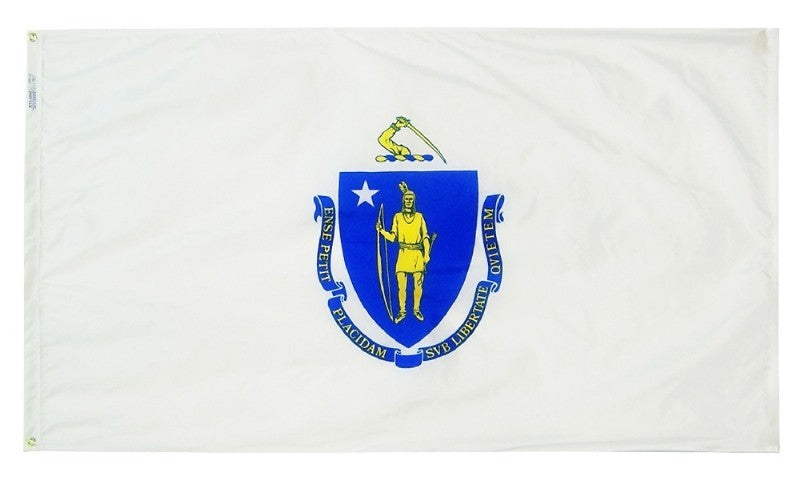 Massachusetts State Flag on Stand