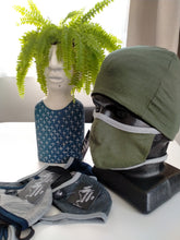 Load image into Gallery viewer, Green/ Grey Binding  Face Mask 100% Merino Wool.