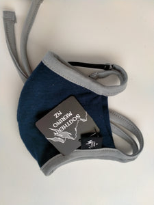 Navy/ Grey Binding Face Mask 100% Merino Wool.