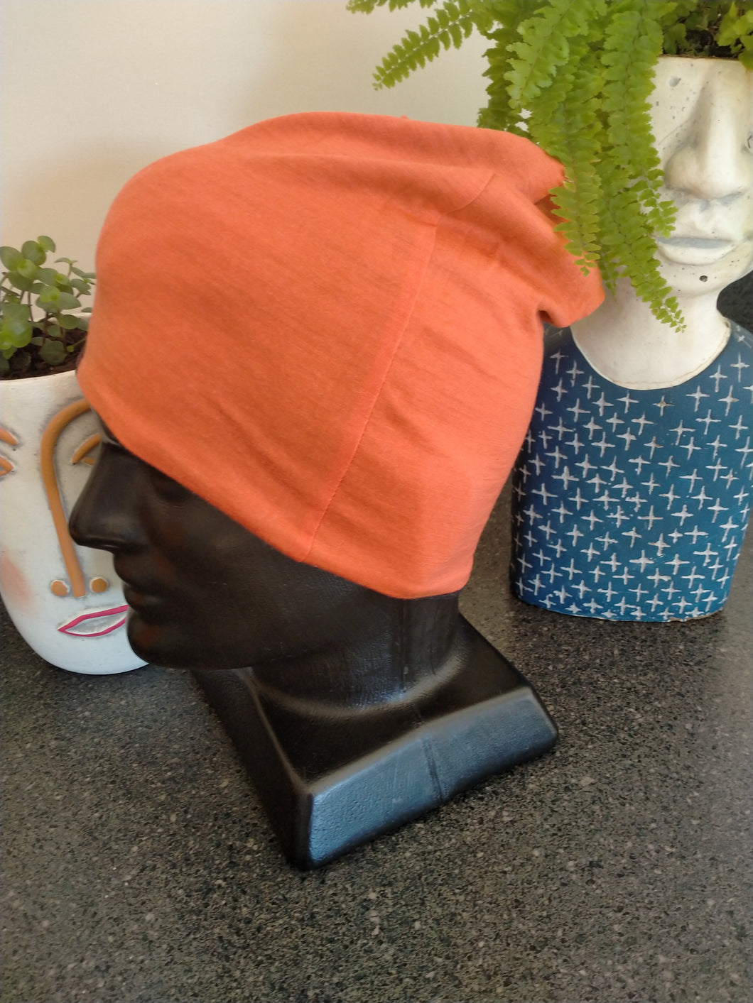 Slouch Beanie - Navy /Orange