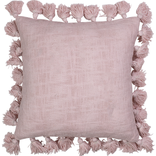 Cotton Slub Tassle Cushion Rose