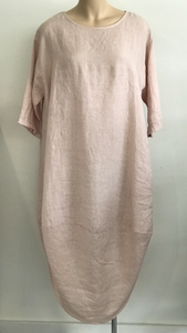 Linen Scalloped Edge Dress Rose
