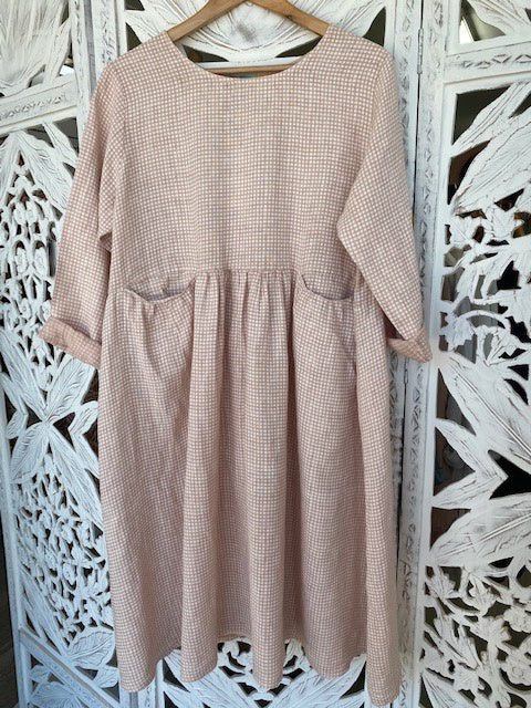 Linen Gingham Baggy Style Dress Rose