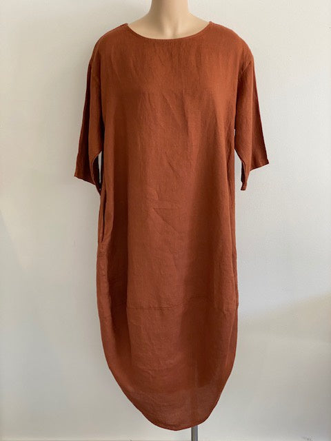 Linen Scalloped Edge Dress Rust
