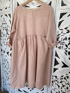 Linen Baggy Style Dress Rose