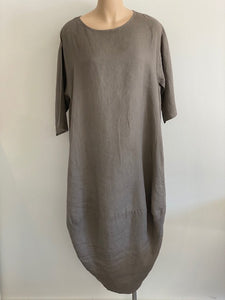 Linen Scalloped Edge Dress Mushroom
