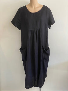 Linen Dress Deep Pockets Navy
