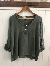 Load image into Gallery viewer, Woven Slouchy Linen/Cotton Top